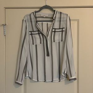 Loft white and black striped blouse